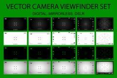 Modern camera focusing screen with settings 20 in 1 pack - digital, mirorless, DSLR Stock Images