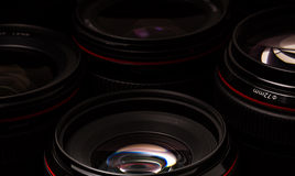 Modern camera lenses with reflections Stock Images
