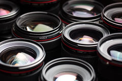 Modern camera lenses with reflections Royalty Free Stock Photography