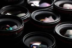 Modern camera lenses with reflections Royalty Free Stock Photos