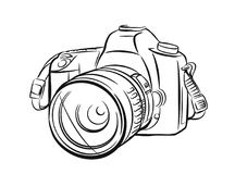 Modern camera in outline style. Royalty Free Stock Photo