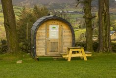 Modern camping pod on site and ready for use at the Meelmore Lodge amenities centre at the Hare`s Gap in the Mourne Mountains Cou. Nty down Northern Ireland Royalty Free Stock Image