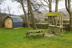 Modern camping pod on site and ready for use at the Meelmore Lodge amenities centre at the Hare`s Gap in the Mourne Mountains Cou. Nty down Northern Ireland Royalty Free Stock Photography