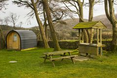 Modern camping pod on site and ready for use at the Meelmore Lodge amenities centre at the Hare`s Gap in the Mourne Mountains Cou. Nty down Northern Ireland Stock Images