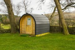 Modern camping pod on site and ready for use at the Meelmore Lodge amenities centre at the Hare`s Gap in the Mourne Mountains Cou. Nty down Northern Ireland Royalty Free Stock Images