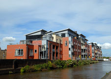 Modern Canalside Apartments Royalty Free Stock Photos