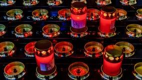 Modern Candles at Church Interior. Modern candles at interior antique catholic church at venice city, Italy stock photography