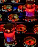 Modern Candles at Church Interior. Modern candles at interior antique catholic church at venice city, Italy royalty free stock images