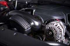 Modern Car Alternator and Engine Stock Photo