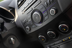 Modern car audio control. Close-up, shallow DOF stock image