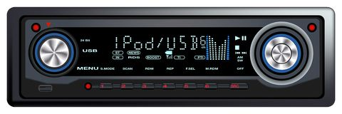 Modern Car Audio Control Syste. M - Vector illustration Royalty Free Stock Photos