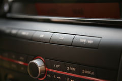 Modern car audio system, cd Royalty Free Stock Images
