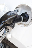A Modern Car is being Refilled with Gasoline on Station Royalty Free Stock Photo