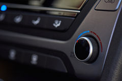 Modern car climate dashboard. Close-up. Service of air conditioner Stock Photo