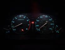 Modern car dashboard. Lighted dashboard at night Stock Image