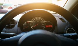 Modern Car Dashboard. Car Driving. Vehicle Steering Wheel And Da. Shboard Background Royalty Free Stock Images