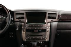 Modern car dashboard. Front view. Interior detail stock photos