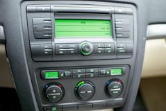 Modern car dashboard, radio system and climate control panel.  stock image