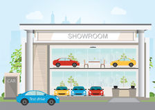 Modern car dealership showroom interior and exterior. Modern car dealership showroom interior and exterior, Includes cars on the display and test drive car Royalty Free Stock Photography