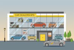 Modern car dealership showroom interior vector illustration