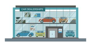 Modern car dealership showroom interior. Vector illustration Royalty Free Stock Photo