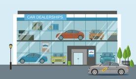 Modern car dealership showroom interior. Vector flat illustration Stock Image