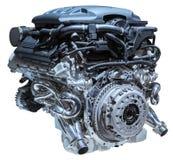 Modern car engine isolated on white background.  stock photography