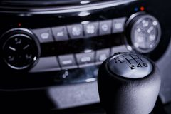 Modern car gear lever and dashboard royalty free stock photography