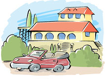 Modern car and house Royalty Free Stock Photography