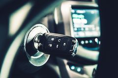 Modern Car Ignition Keys. With Remote Alarm and Central Lock System. Driving Theme royalty free stock photos
