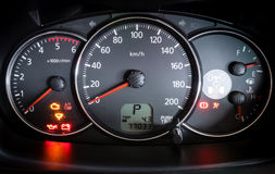 Modern car illuminated dashboard Royalty Free Stock Photography