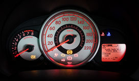 Modern car illuminated dashboard Stock Photos