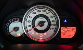 Modern car illuminated dashboard closeup Stock Photography