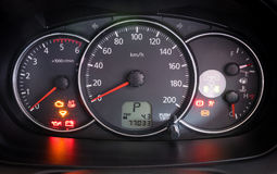 Modern car illuminated dashboard closeup Royalty Free Stock Image