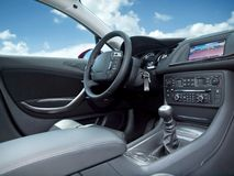 Modern car interior. Stock Photos