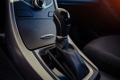 Modern car interior dashboard and steering wheel Stock Photo