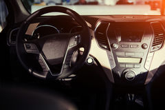 Modern car interior dashboard and steering wheel. Modern car interior dashboard and steering wheel Stock Photos