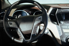 Modern car interior dashboard and steering wheel. Modern car interior dashboard and steering wheel Stock Images
