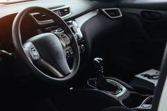 Modern car interior dashboard and steering wheel.  Royalty Free Stock Photos