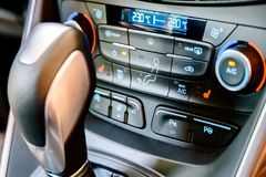 Modern Car Interior Dashboard View Royalty Free Stock Photo