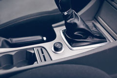 Modern car interior details closeup. Gray seats Stock Images