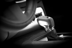 Modern car interior gear stick Royalty Free Stock Photo
