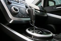 Modern car interior, gearstick close up Stock Image