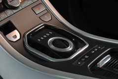 Modern car interior, knob gear stick Stock Photos