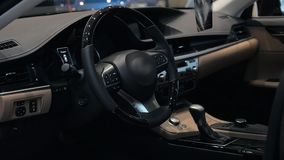 Modern car interior with leather and wood details stock footage