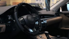 Modern car interior with leather and wood details stock video
