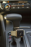 Modern car interior with smart watch Royalty Free Stock Photography
