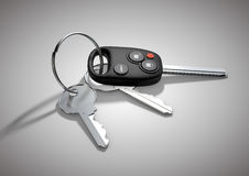 Modern Car keys for passenger vehicle isolated on flat white sur Stock Photo