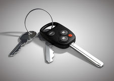 Modern Car keys for passenger vehicle isolated on flat white sur Royalty Free Stock Images