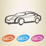 Modern car outlined symbol Stock Images